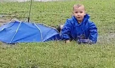 boy fell in wet grass